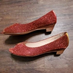 Dolce Nome Red Sparkle Low Heels